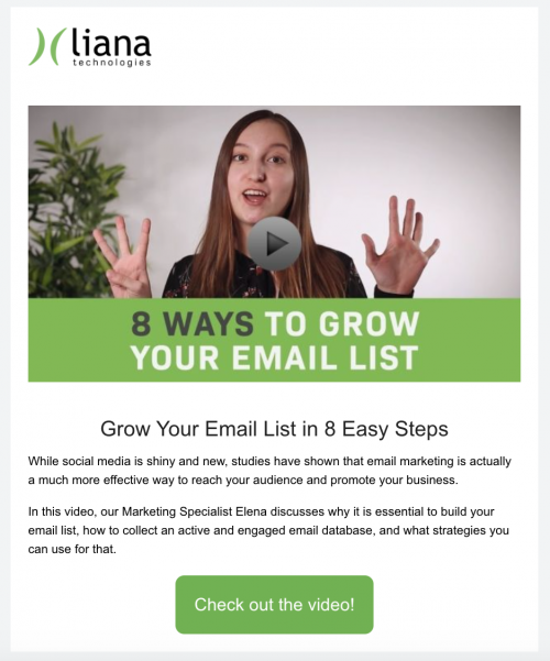 video in newsletters example