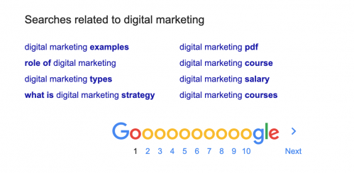 Google searches related to digital marketing