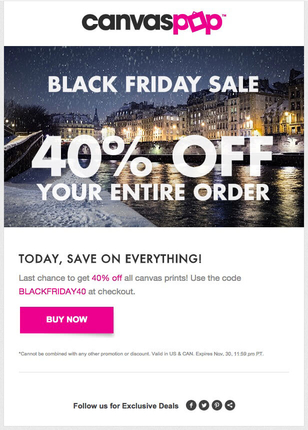 Canvas Pop gives 40% off all products on Black Friday.