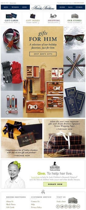 Brooks Brothers' Christmas newsletter contains festive ideas on gifts 'for him'
