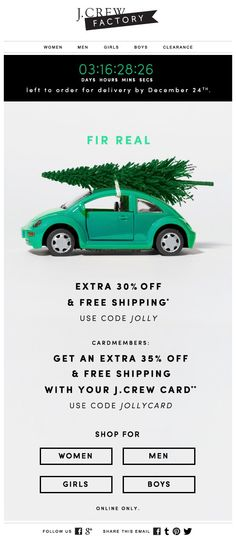 A 30% discount and free shipping during Christmas provided by J. Crew Factory in a holiday newsletter