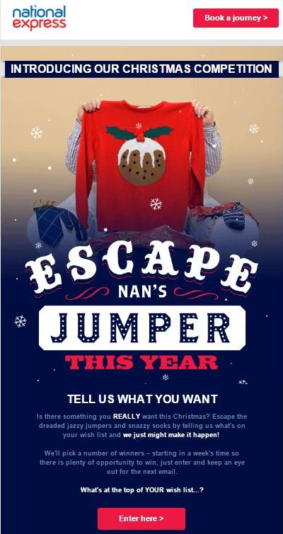 A Christmas competition run by National Express in their holiday newsletter