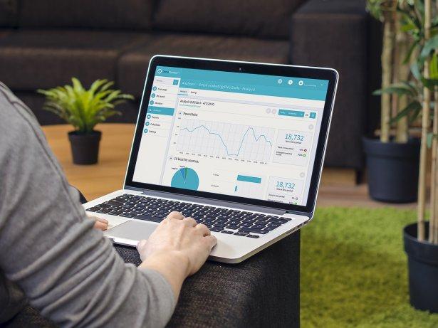 Lianas PR-lösnings användargränssnitt på laptop